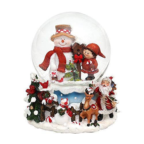 Dekohelden24 Boule à neige bonhomme de neige avec enfant sur socle décoré avec socle, mélodie : White Christmas, dimensions L/L/H/: 12,5 x 12 x 14,5 cm, boule Ø 10 cm.