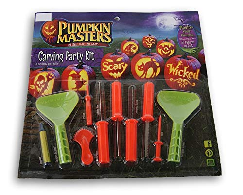 Pumpkin Masters America's Favorite Pumpkin Carving Party Kit (12 patterns in book, 4 Saws, 2 Scraper Scoops, 1 Super Poker, 1 Poker and 1 Crayon - Create that Perfect Pumpkin with the Kids!!