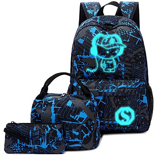 BLUBOON School Backpack for Boys Teens Bookbag Travel Daypack Kids Girls Lunch Bag Pencil Case (Blue-3pcs)