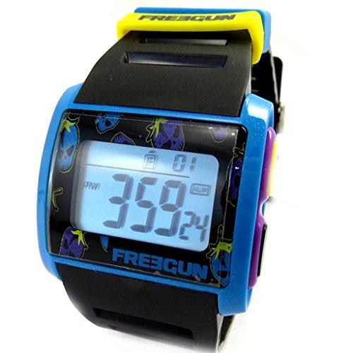 Armbanduhr silikon 'Freegun'blau schwarz gelb Purpur (digital).