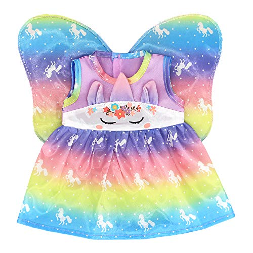 """ZWOOS Ropa de Muñecas para New Born Baby Doll, Traje de Hada Unicornio con Alas para 18 \"""" Muñecas (40-45 cm)"""