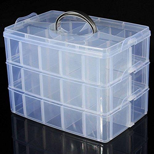 LUCKYFINE 3 Schichten Sortierbox Schmuck Boxen Aufbewahrungsbox Sortierkasten Plastik