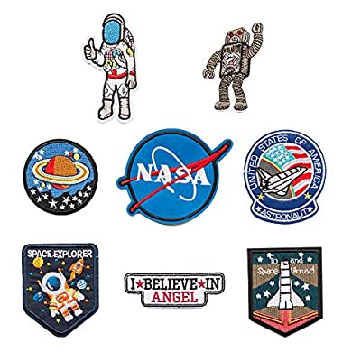 Space Fans Patches Tactical NASA Astronaut Shuttle Decorative Applique Repair Patches Embroidered Morale Lot Military Iron/Sew on Patches(8 Pieces)