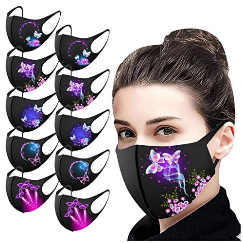 JSPOYOU 10PCS Adult's Prints Protection Face Washable Earloop