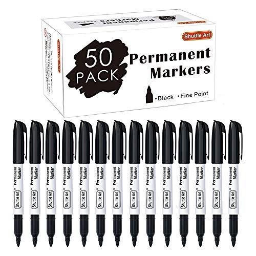 Shuttle Art - Confezione da 50 pennarelli indelebili, punta fine, colore nero, funzionano bene su plastica, legno, pietra, metallo e vetro, per scarabocchiare, segnare