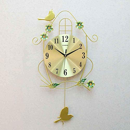 Little Bird Deor Reloj de Pared con péndulo Reloj de Pared Grande Moderno para Sala de Estar Comedor Reloj Simple Reloj de Cuarzo silencioso para Dormitorio (Color: Gold)