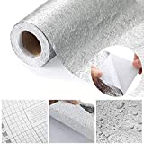 HO2NLE Rollo de Papel Aluminio Adhesivo 0.6 x 5m Papel Impermeable Cocina Papel Aluminio Autoadhesivo Anti Aceite de Agua de Moho para Mueble de Baño Cocina Cristal Enzimiera