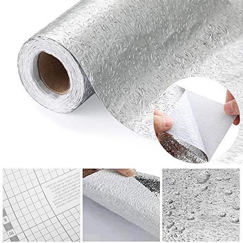 HO2NLE 61 x 500cm Aluminium Folie Selbstklebende Küchenfolie Hitzebeständig Wasserdicht Anti-Schimmel Öl Silber Aluminiumfolie Aufkleber für Küchen, Schrank, Möbel, Tische, Küchenherd