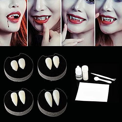 1 par de colmillos de dientes de vampiro de 1,3 cm con adhesivo para fiestas de Halloween, cosplay, terror, fiestas de colmillos