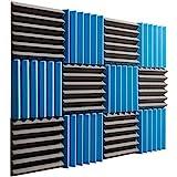 "Pro Studio Acoustics - Blue/Charcoal - 12""x12""x2"" Acoustic Wedge Foam Absorption Soundproofing Tiles..."