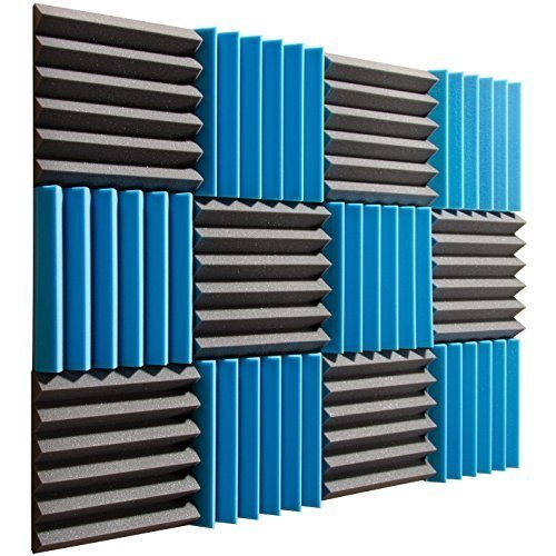 "Pro Studio Acoustics - Blue / Charcoal - 12""x12""x2"" Acoustic Wedge Foam Absorption Soundproofing Tiles - 12 Pack"