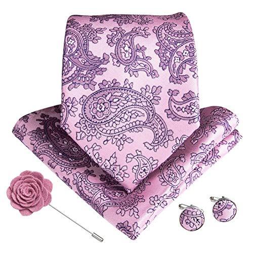 WOXHY Männer Krawatte Seide Rosa Paisley Geschenke Krawatte Tasche Quadrat Manschettenknöpfe Brosche Set Herren Zubehör