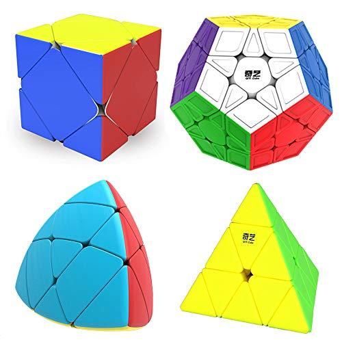 MINGZE Cubo Magico Pack, Speed Cube 3x3+2x2+4x4+5x5, Cubo de la Velocidad Sin Pegatinas Caja de Regalo de 4 Piezas Set (Stickerless) (Megaminx Pyraminx Skew Mastermorphix Coloful)