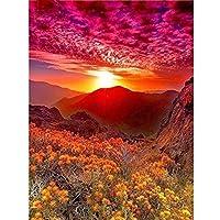 赤い風景DIYダイヤモンド絵画5Dモザイクフルスクエアダイヤモンド刺繡サンセットクロスステッチ家の装飾ギフト