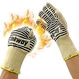 Ankway Guantes para barbacoa, 932°F de calor guantes de cocina Asar a la parrilla, resistente y accesorios de cocina (negro, 1 par)