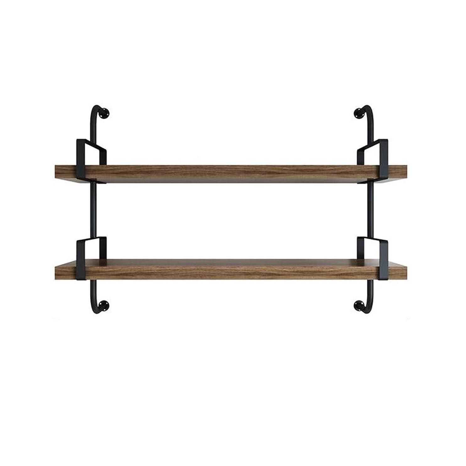 匹敵します勘違いする骨純木の壁ラック鍛造鉄の壁掛け壁収納ラックリビングルームのベッドルームワードパーティションフレームラック YIXIN (色 : 2, サイズ さいず : L:60cm)