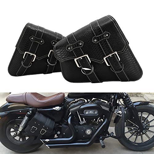 2pcs Motorcycle Universal Crocodile Pattern PU Leather Tool Phone Wallet Bag Luggage Saddle Side Bag Trunk For Harley Indian Victory Honda Suzuki Kawasaki BMW Yamaha Ducati (Black)