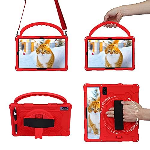 Lfdygcd - Custodia per bambini per Lenovo M10 Plus 10.3,360 con supporto rotante in silicone, per Samsung Galaxy Tab S6, colore: Rosso