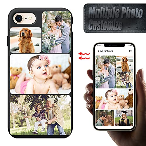 EMIDY Custom Phone Case for iPhone 6/6s Case Personalized Multi Picture Collage Photo Phone Cases,Customized Phone Cover for Birthday Xmas Valentines Friends Gift Mini Pro Max (Black)
