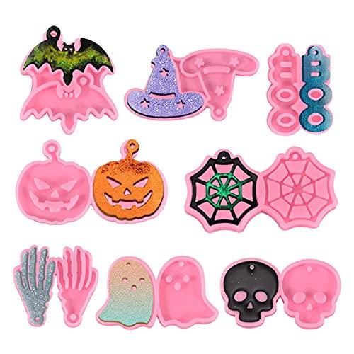 Kristy Molde de silicona para Halloween con diseño de llavero de Halloween, 8 unidades por 10 llaveros para hacer chocolates y collares para perros, gatos, material de silicona, color rosa