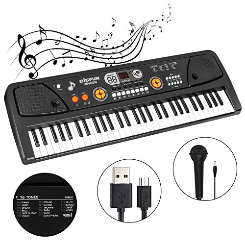 M SANMERSEN 61-Key Kids Keyboard Piano with LCD Screen Music Piano Keyboard with Microphone Electronic Musical Instrument for Kids Adults Beginners