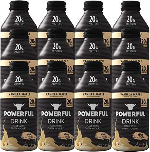 Powerful Drink – Protein Shake, Meal Replacement Shake, Greek Yogurt, Gluten Free, Ready to Drink, 20g Protein, Vanilla Maple, 12 Pack