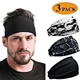 DEMIL Men's Sports Headband 1 Pack or 3 Pack Running Sweat Head Bands for Running Football Tennis(3PACK-Black Series1)