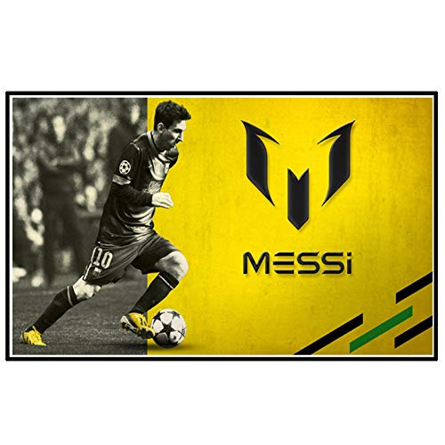 DrCor Póster de Jugador de fútbol Messi Retrato Abstracto Arte de Pared Deporte Lienzo Pintura decoración del hogar imágenes decoración -50x90 cm sin Marco 1 Uds