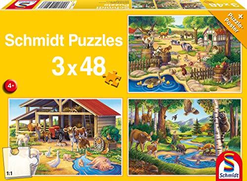 Schmidt Spiele Puzzle 56203, geib, Alle Meine Lieblingstiere, 3x48 Teile