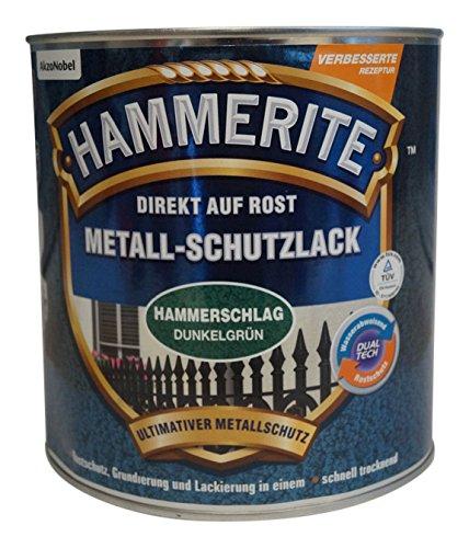 AKZO NOBEL (DIY HAMMERITE) 5087605 Metallschutzlack Hammerite Metall-Schutzlack Hammerschlag 2,500 L, Dunkelgrün, 2,5 Liter