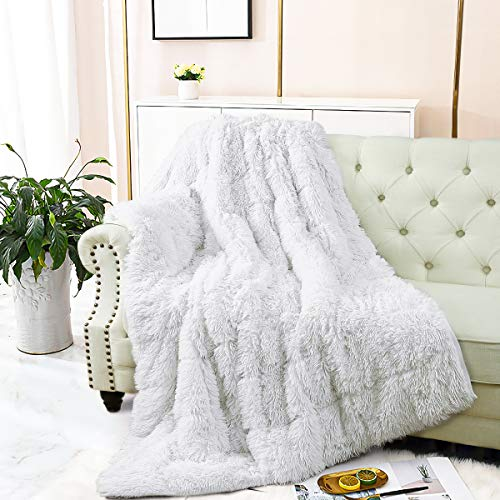 Merelax Shaggy Faux Fur Weighted Blanket 15lbs, White Fluffy...