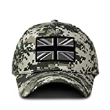 Speedy Pros Camo Baseball Cap British Flag Black White Embroidery Cotton Hunting Dad Hats for Men & Women Strap Closure Pixel Digital Camo Design Only