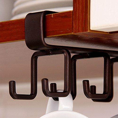 ORZ 12 Hook Under The Shelf Mug Cup Holder Kitchen Organizer Storage Rack, Bronze