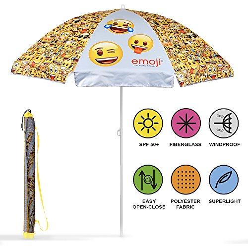 PERLETTI 75056 Sonnenschirm für Strand / Garten / Meer / Terrasse - Windfest - Offizielle Emojis von Whatsapp - Lichtschutzfaktor UV SPF 50+