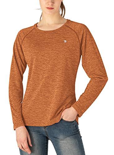 TBMPOY Women's UPF 50+ Sun Protection Long Sleeve Shirts SPF Lightweight Hiking Running Fishing Outdoor Tops Orange M