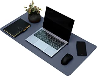 PU Leather Desk Pad, Waterproof Desk Mat, Mouse Pad for Home/Offiee, Easy to Clean (Blue/Yellow)