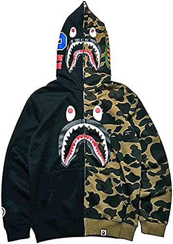 LIUPING Bape Hoodie Shark Head Cardigan Patchwork Hoodies Camuflaje Zipper Plus Fleece Chaqueta De Algodón Sweatershirt para Hombres Y Mujeres (Color : Black Green, Size : Small)