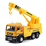 haomsj Toy Crane Truck Diecast Metal Cars Construction Truck wiht Light and Sound Pull Back Vehicles Toy Trucks for Boys Age3,4,5,6 (1PC) (Crane Truck)