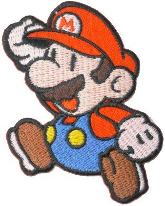 Aufnäher bestickt mit Super Mario zum Aufnähen oder Aufbügeln, 5,5cm x 7,5cm