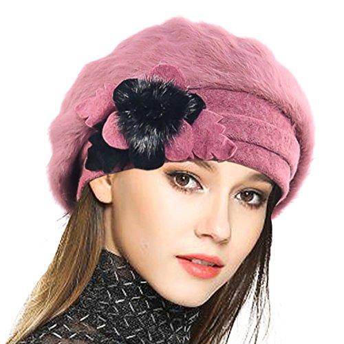 VECRY Mujeres Lana Boinas Angola Gorro Casquete Invierno Sombrero (Rosado)