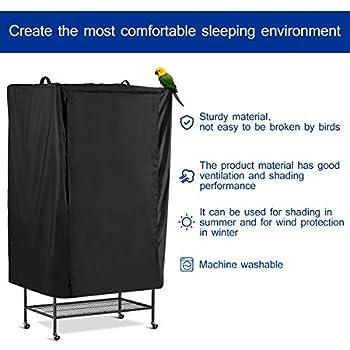 POPETPOP Cage À Oiseaux Couvre Respirant Anti-Poussière Sommeil Accessoire Shading Accessoire Tissu pour Oiseau Animal (Noir)