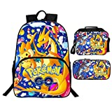ANGXIN Conjunto de Tres Piezas para niños Mochilas 3D Pikachu Pokémon Impreso Mochila...