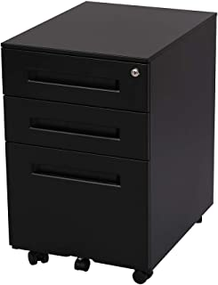 FlexiSpot File Cabinet Underdesk Mobile Pedestal Lockable Container 3-Drawer CB31B (Black)