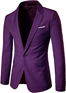 Runyue Mens Slim Fit Casual One Button Blazer Jacket Business Suit Jackets
