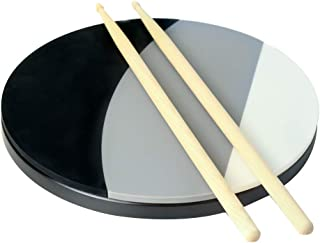 Lannive 12 inch Drum Practice Pad - 3 Different Playing Surfaces - DRUMSTICKS INCLUDED