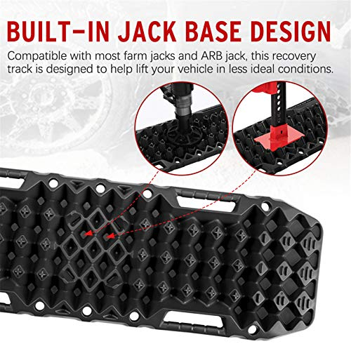 BUNKER INDUST Off-Road Traction Boards with Jack Lift Base, 1 Pair Recovery Tracks Traction Mat for 4X4 Jeep Mud, Sand, Snow Traction Ladder-Black Emergency Tire Traction Tool