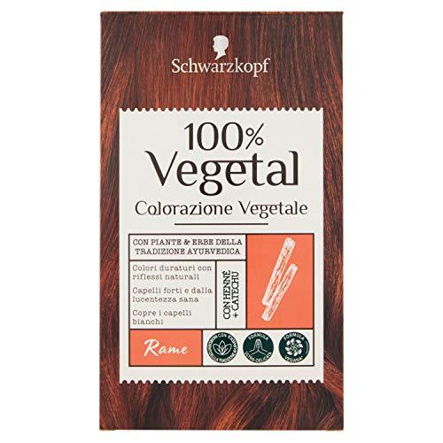 Schwarzkopf 100% Vegetal, Colorazione Vegetale per Capelli, Tinta per Copertura dei Capelli Bianchi, Formula Vegana Ultra Delicata, Rame