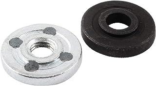 X-DREE Round Clamp Inner Outer Flange 2Pcs Black Silver Tone for Hitachi 100(Brida exterior interna de brida redonda 2 pie...