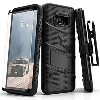 ZIZO Bolt Series for Samsung Galaxy S8 Case Military Grade Drop Tested with Tempered Glass Screen Protector Holster Black