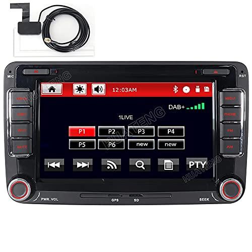 HTparts Built-in DAB+ Autolink 16GB Autoradio mit Navigation DVD GPS für VW Golf 5 6 Passat B6 Polo T5 Skoda Seat 2 DIN Bluetooth VMCD 7 Zoll RDS Canbus